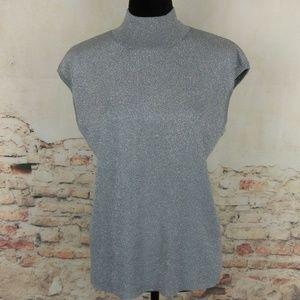 Coldwater Creek XL Metallic Silver Silk Sweater